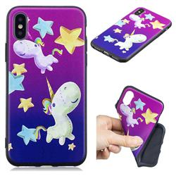 Pony 3D Embossed Relief Black TPU Cell Phone Back Cover for iPhone XS / iPhone X(5.8 inch)