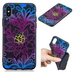 Colorful Lace 3D Embossed Relief Black TPU Cell Phone Back Cover for iPhone XS / iPhone X(5.8 inch)