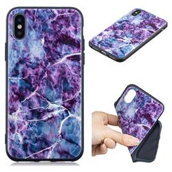 Marble 3D Embossed Relief Black TPU Cell Phone Back Cover for iPhone XS / iPhone X(5.8 inch)