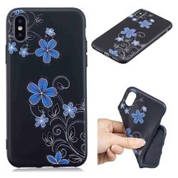 Little Blue Flowers 3D Embossed Relief Black TPU Cell Phone Back Cover for iPhone XS / iPhone X(5.8 inch)