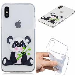 Bamboo Panda Clear Varnish Soft Phone Back Cover for iPhone XS / iPhone X(5.8 inch)