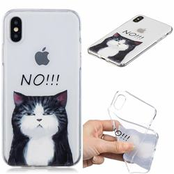 Cat Say No Clear Varnish Soft Phone Back Cover for iPhone XS / iPhone X(5.8 inch)