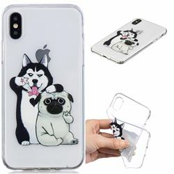 Selfie Dog Clear Varnish Soft Phone Back Cover for iPhone XS / iPhone X(5.8 inch)