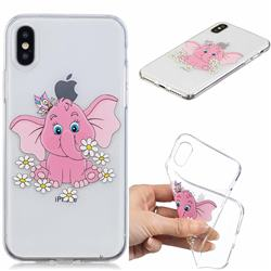 Tiny Pink Elephant Clear Varnish Soft Phone Back Cover for iPhone XS / iPhone X(5.8 inch)