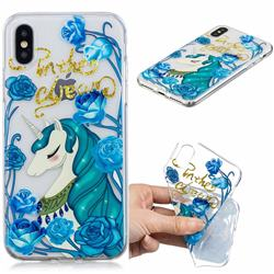 Blue Flower Unicorn Clear Varnish Soft Phone Back Cover for iPhone XS / iPhone X(5.8 inch)