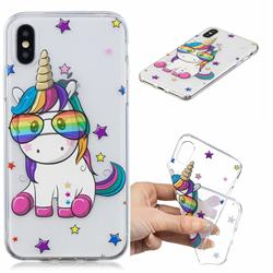 Glasses Unicorn Clear Varnish Soft Phone Back Cover for iPhone XS / iPhone X(5.8 inch)
