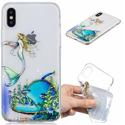 Mermaid Clear Varnish Soft Phone Back Cover for iPhone XS / iPhone X(5.8 inch)