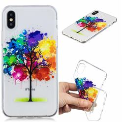 Oil Painting Tree Clear Varnish Soft Phone Back Cover for iPhone XS / iPhone X(5.8 inch)