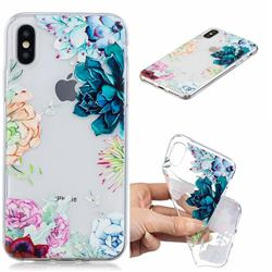 Gem Flower Clear Varnish Soft Phone Back Cover for iPhone XS / iPhone X(5.8 inch)
