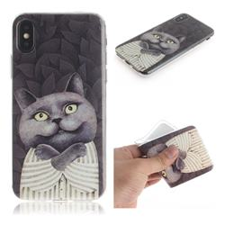 Cat Embrace IMD Soft TPU Cell Phone Back Cover for iPhone XS / iPhone X(5.8 inch)