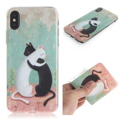 Black and White Cat IMD Soft TPU Cell Phone Back Cover for iPhone XS / iPhone X(5.8 inch)