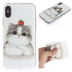 Cute Tomato Cat IMD Soft TPU Cell Phone Back Cover for iPhone XS / iPhone X(5.8 inch)