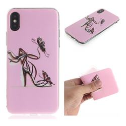 Butterfly High Heels IMD Soft TPU Cell Phone Back Cover for iPhone XS / iPhone X(5.8 inch)