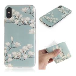 Magnolia Flower IMD Soft TPU Cell Phone Back Cover for iPhone XS / iPhone X(5.8 inch)