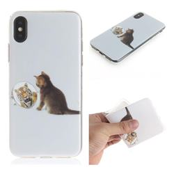 Cat and Tiger IMD Soft TPU Cell Phone Back Cover for iPhone XS / iPhone X(5.8 inch)