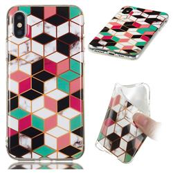 Three-dimensional Square Soft TPU Marble Pattern Phone Case for iPhone XS / iPhone X(5.8 inch)