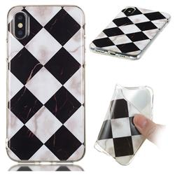Black and White Matching Soft TPU Marble Pattern Phone Case for iPhone XS / iPhone X(5.8 inch)