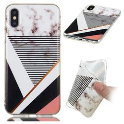 Pinstripe Soft TPU Marble Pattern Phone Case for iPhone XS / iPhone X(5.8 inch)