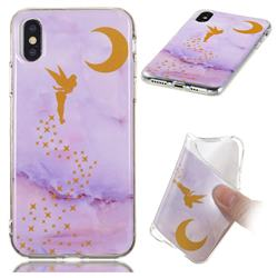 Elf Purple Soft TPU Marble Pattern Phone Case for iPhone XS / iPhone X(5.8 inch)