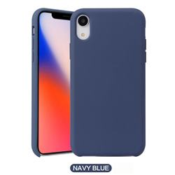 Howmak Slim Liquid Silicone Rubber Shockproof Phone Case Cover for iPhone XS / iPhone X(5.8 inch) - Midnight Blue