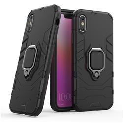 Black Panther Armor Metal Ring Grip Shockproof Dual Layer Rugged Hard Cover for iPhone XS / iPhone X(5.8 inch) - Black