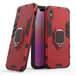 Black Panther Armor Metal Ring Grip Shockproof Dual Layer Rugged Hard Cover for iPhone XS / iPhone X(5.8 inch) - Red