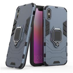 Black Panther Armor Metal Ring Grip Shockproof Dual Layer Rugged Hard Cover for iPhone XS / iPhone X(5.8 inch) - Blue