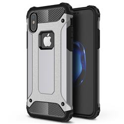 King Kong Armor Premium Shockproof Dual Layer Rugged Hard Cover for iPhone XS / iPhone X(5.8 inch) - Silver Grey