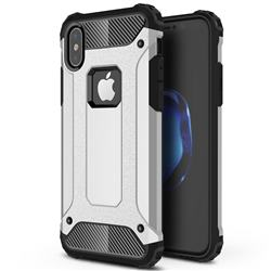 King Kong Armor Premium Shockproof Dual Layer Rugged Hard Cover for iPhone XS / iPhone X(5.8 inch) - Technology Silver