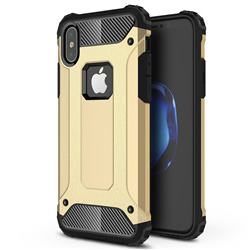 King Kong Armor Premium Shockproof Dual Layer Rugged Hard Cover for iPhone XS / iPhone X(5.8 inch) - Champagne Gold