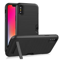 Brushed 2 in 1 TPU + PC Stand Card Slot Phone Case Cover for iPhone XS / iPhone X(5.8 inch) - Black