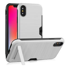 Brushed 2 in 1 TPU + PC Stand Card Slot Phone Case Cover for iPhone XS / iPhone X(5.8 inch) - Silver