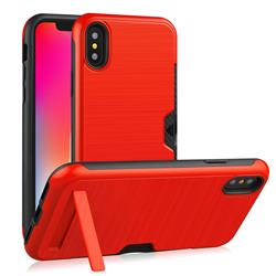 Brushed 2 in 1 TPU + PC Stand Card Slot Phone Case Cover for iPhone XS / iPhone X(5.8 inch) - Red