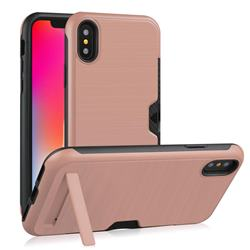 Brushed 2 in 1 TPU + PC Stand Card Slot Phone Case Cover for iPhone XS / iPhone X(5.8 inch) - Rose Gold