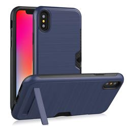 Brushed 2 in 1 TPU + PC Stand Card Slot Phone Case Cover for iPhone XS / iPhone X(5.8 inch) - Navy