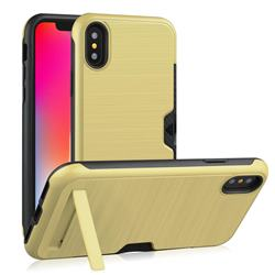 Brushed 2 in 1 TPU + PC Stand Card Slot Phone Case Cover for iPhone XS / iPhone X(5.8 inch) - Golden