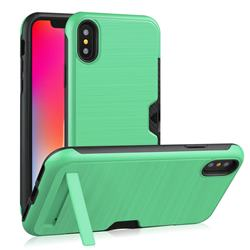 Brushed 2 in 1 TPU + PC Stand Card Slot Phone Case Cover for iPhone XS / iPhone X(5.8 inch) - Mint Green