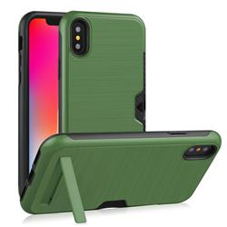 Brushed 2 in 1 TPU + PC Stand Card Slot Phone Case Cover for iPhone XS / iPhone X(5.8 inch) - Army Green