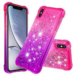 Rainbow Gradient Liquid Glitter Quicksand Sequins Phone Case for iPhone XS / iPhone X(5.8 inch) - Pink Purple