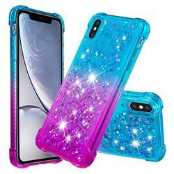 Rainbow Gradient Liquid Glitter Quicksand Sequins Phone Case for iPhone XS / iPhone X(5.8 inch) - Blue Purple