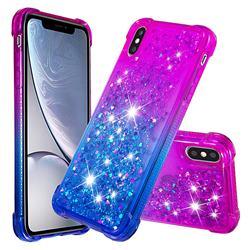 Rainbow Gradient Liquid Glitter Quicksand Sequins Phone Case for iPhone XS / iPhone X(5.8 inch) - Purple Blue