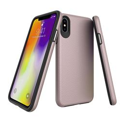Triangle Texture Shockproof Hybrid Rugged Armor Defender Phone Case for iPhone XS / iPhone X(5.8 inch) - Rose Gold