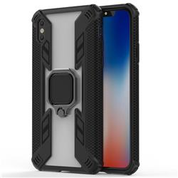 Predator Armor Metal Ring Grip Shockproof Dual Layer Rugged Hard Cover for iPhone XS / iPhone X(5.8 inch) - Black