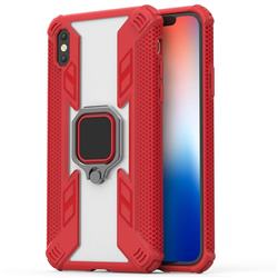 Predator Armor Metal Ring Grip Shockproof Dual Layer Rugged Hard Cover for iPhone XS / iPhone X(5.8 inch) - Red