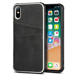 Simple Calf Card Slots Mobile Phone Back Cover for iPhone XS / iPhone X(5.8 inch) - Black
