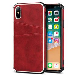 Simple Calf Card Slots Mobile Phone Back Cover for iPhone XS / iPhone X(5.8 inch) - Red
