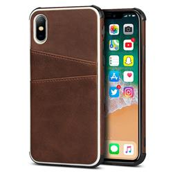 Simple Calf Card Slots Mobile Phone Back Cover for iPhone XS / iPhone X(5.8 inch) - Coffee