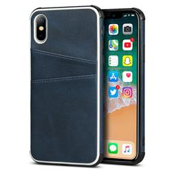 Simple Calf Card Slots Mobile Phone Back Cover for iPhone XS / iPhone X(5.8 inch) - Blue