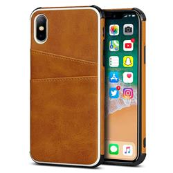 Simple Calf Card Slots Mobile Phone Back Cover for iPhone XS / iPhone X(5.8 inch) - Yellow