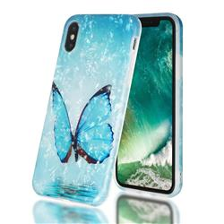 Sea Blue Butterfly Shell Pattern Clear Bumper Glossy Rubber Silicone Phone Case for iPhone XS / iPhone X(5.8 inch)
